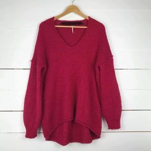 Free people all mine knitted sweater in raspberry
